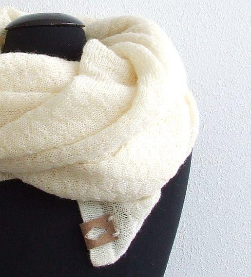 Wool Knitted Shawl, Large Evening Shawl Knit Cream Ivory Scarf or Wrap Spring Summer Scarf Shawl, Bridal Shawl Winter Wedding Shawl by AJatelier on Etsy