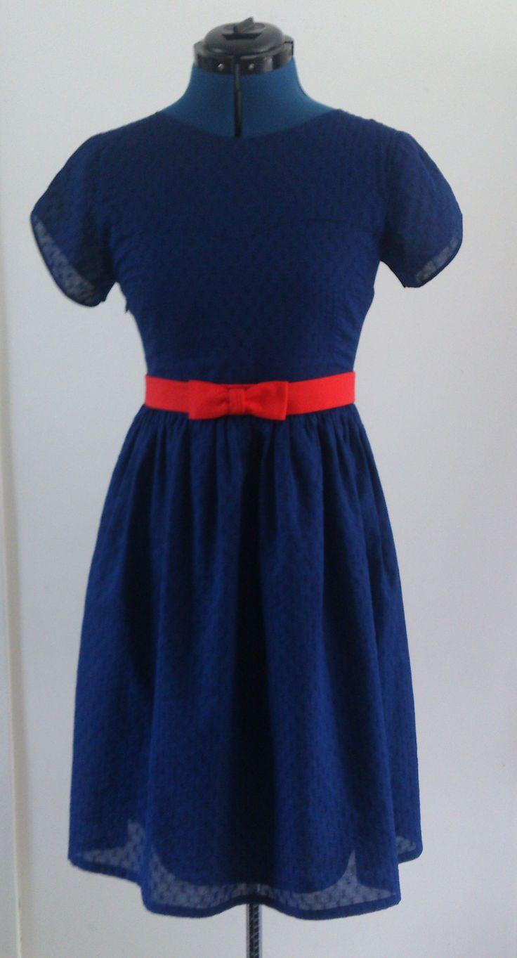 Blue sheer dress. Colette's 'Macaron' pattern. Material: cotton.