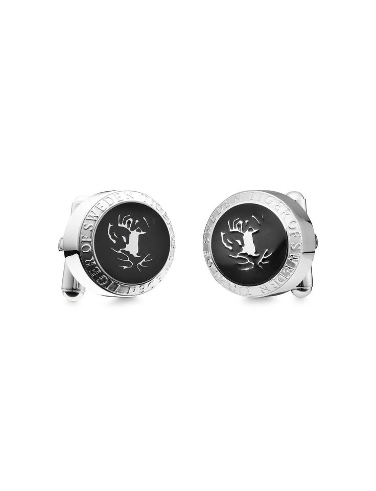 Trockel cufflinks-Men's metal cufflinks with shiny silver finish and black enamel on top. Tiger head in silver printed on black area. Size: 1.7x 7.5 cm.