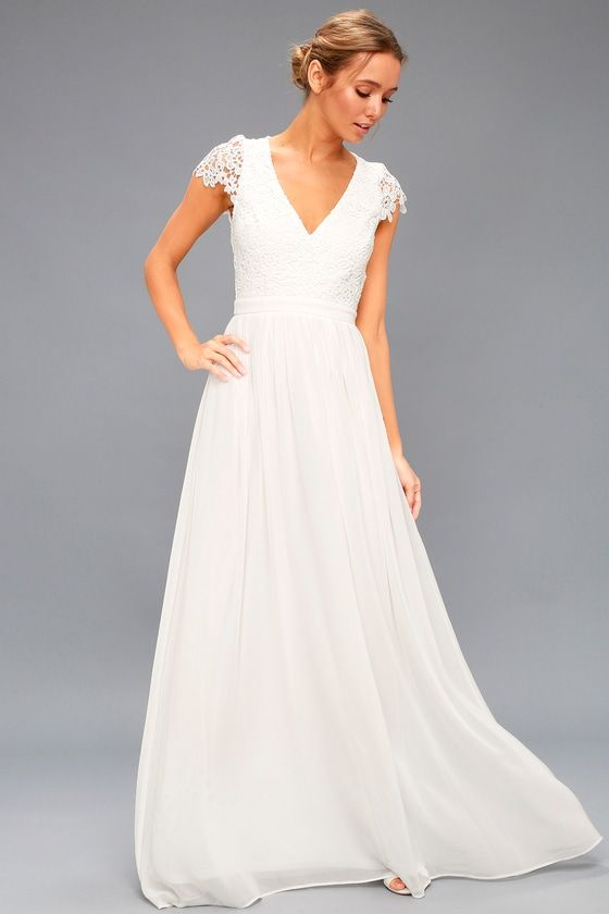 c29297bc2f Florianna White Backless Lace Maxi Dress in 2019