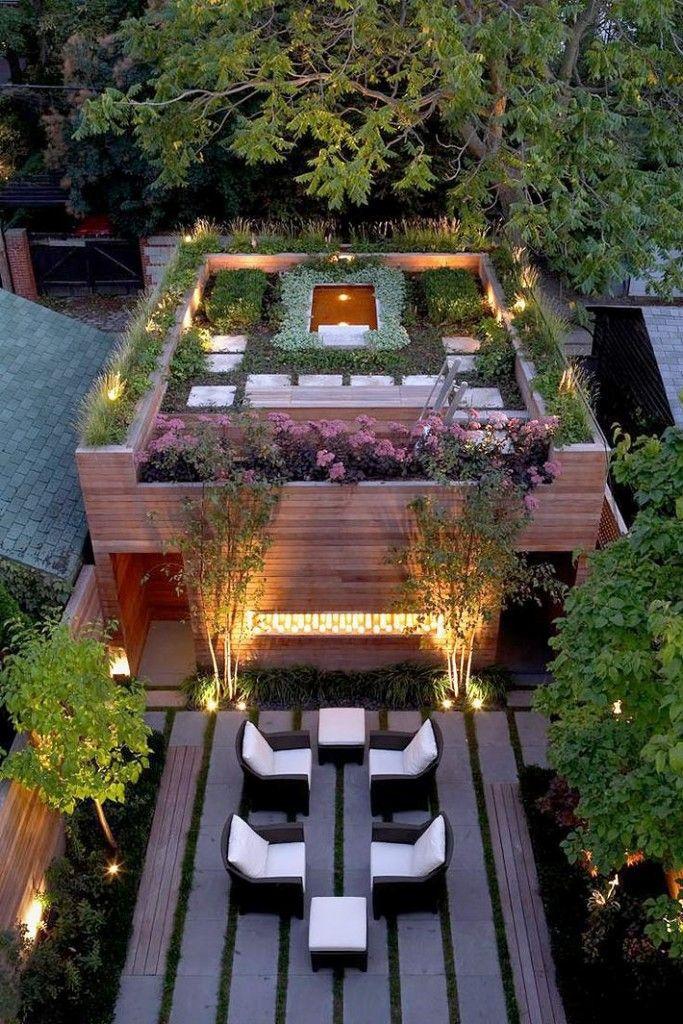 Двухуровневая терраса на крыше дома фото
