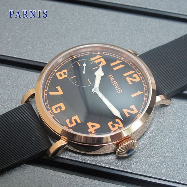 US $105.00 - Casual Watch Men 46mm Parnis Rose Gold Case Black Dial Orange Numbers Hand-Winding Wristwatch Mechanical Watches