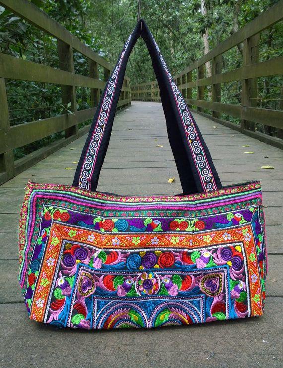 Hmong Boho Embroidery Tote Ethnic Bag fashion style by pasaboho