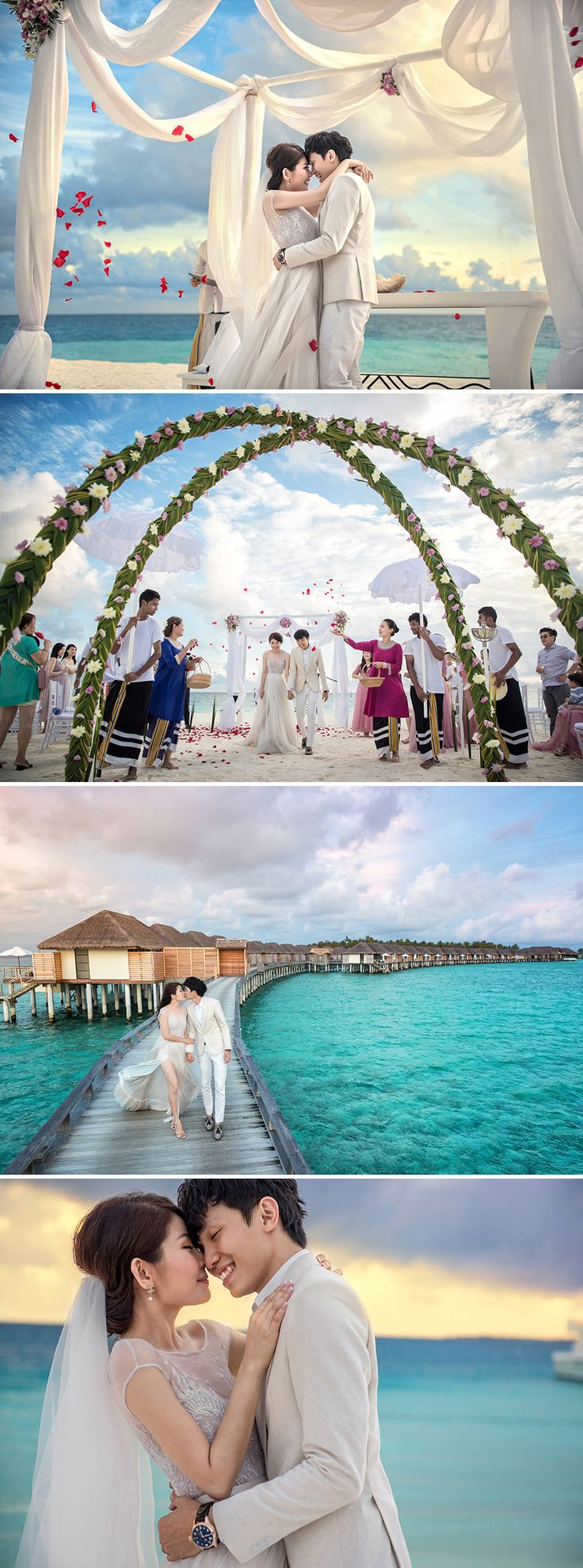 """After ten years together and beautiful pre-wedding shoots in France and the USA, Keda of KEDA.Z Photography and Kelly's wedding day finally arrived. Shot by Mayad Studios, their nuptials were held at Velassaru Maldives, where the couple said their vows against the picturesque cerulean waters of the tropical archipelago. The bride stunned in a beautiful embellished """"Swan Lake"""" Paolo Sebastian gown from The Proposal in Singapore."""