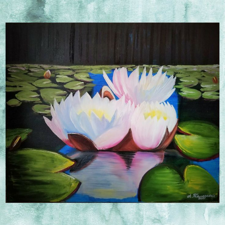 """Water Lilies (Nymphéas). Christmas Gift. New Year Gift. Wall Art. Home Decor. Gift for her. Wall Decor. Original Oil Painting on Canvas. 20"""" x 24"""". 50 x 61 cm. 2017. CAD 380 Unframed. Painted Edges. Ready to Hang. AVAILABLE FOR IMMEDIATE PURCHASE.   I have created this beautiful piece by hand so you can enjoy it in your own home. Display it in your own house or office to brighten up any room. It will make a great gift, too. #homedecoration #paintings #oilpainting #artgallery #landscape…"""