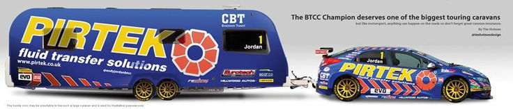 How about this Pirtek Racing & Bailey Retreat Sycamore combo?  Not sure about the tow match on this one! Credit: Tim Holmes Design & Caravan Guard
