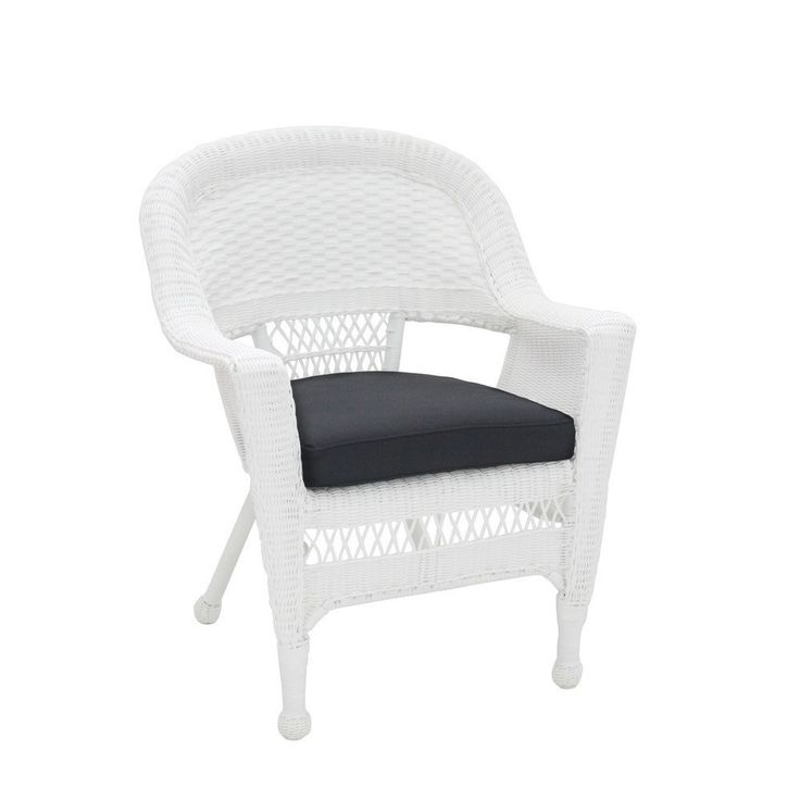 Jeco, Set Of 2 White Wicker Chair With Cushion