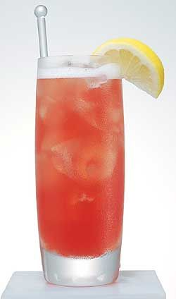 New spin on the Cosmo.    1 oz. Caravella Limoncello  3 oz. lemonade  .5 oz. cranberry juice  .5 oz soda water  lemon wedge
