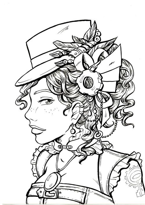 steampunk coloring page printable adult kleuren voor volwassenen frbung fr erwachsene coloriage pour adultes colorare per - For Colouring Picture