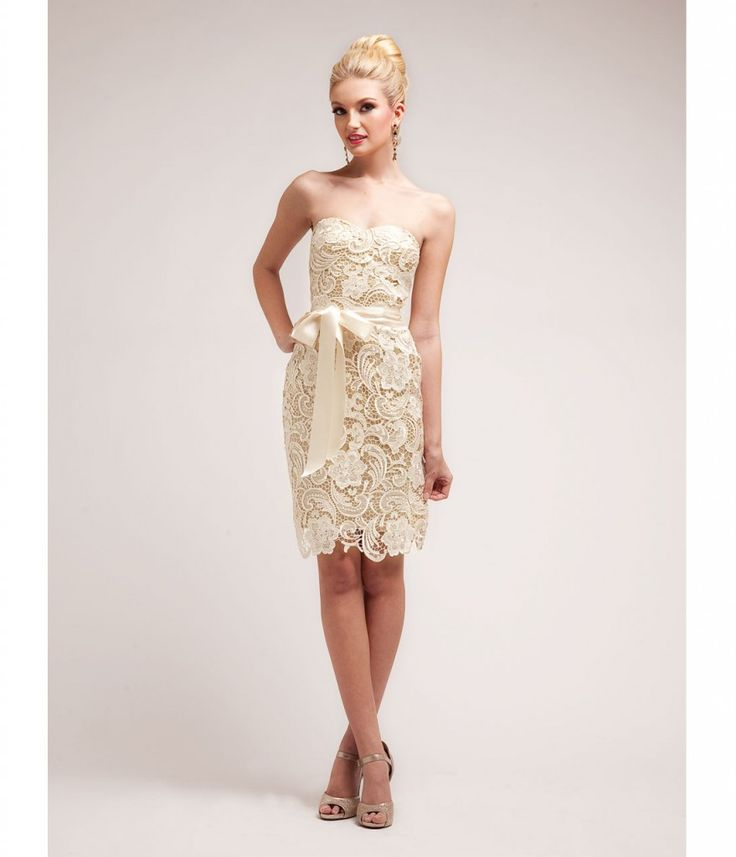Prom Dresses Gold Nude Lace Cocktail Dress