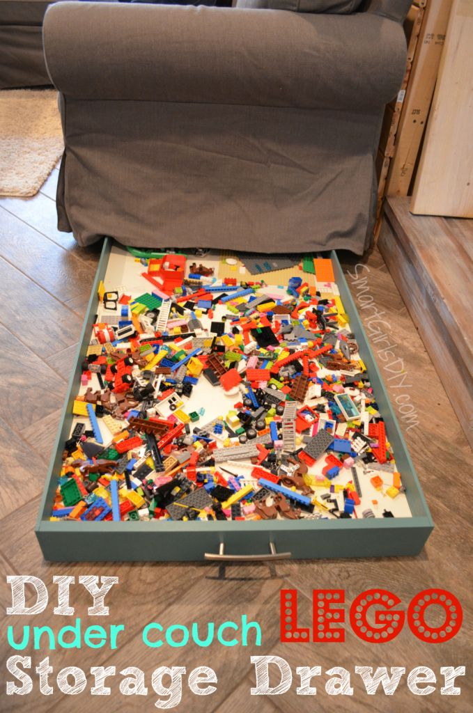Easy tutorial! Build your own DIY Lego storage drawer that neatly slides under the couch.