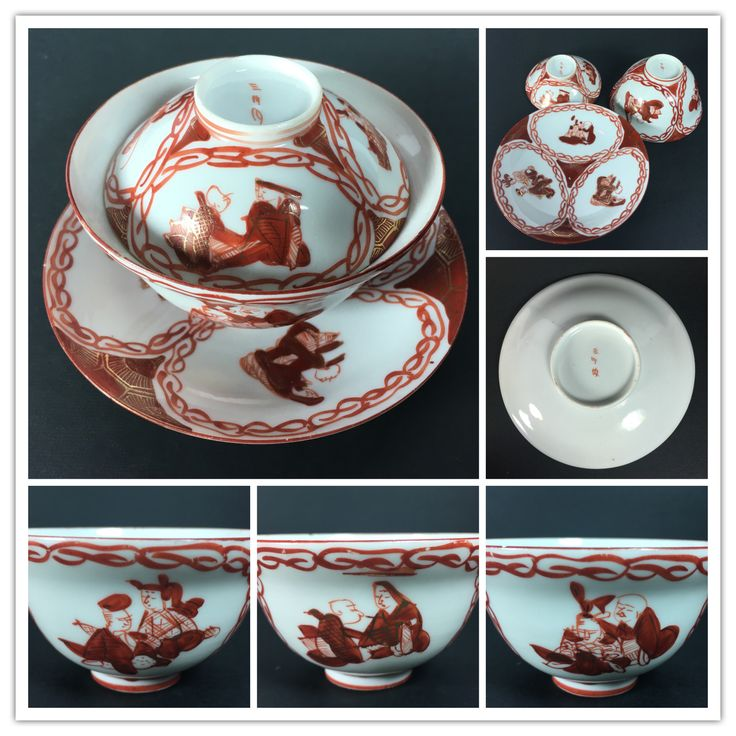 Japanese Mikawachi 三川内 saucer, cup and lid. Most likely late 19th century.