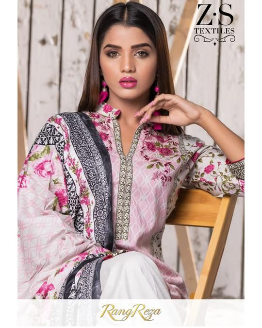 27ad4fa018 RangReza Printed Lawn by ZS Textiles - Mid Summer-Vol-2 - 3Pc Original Lawn  Suit Unstitched-ZS-07