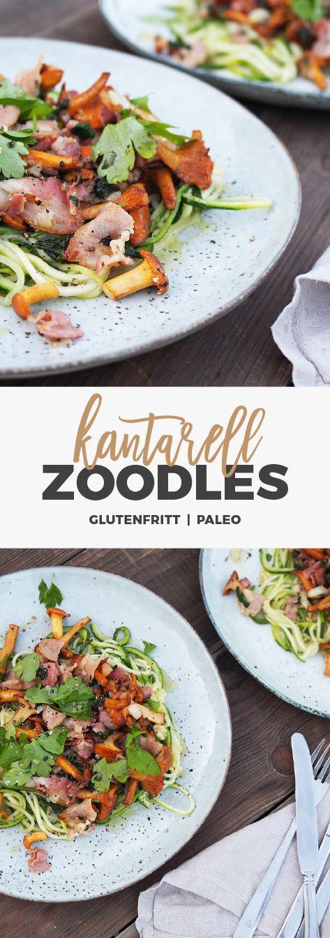 Recept: Zoodles med kantareller och bacon. Glutenfritt / paleo