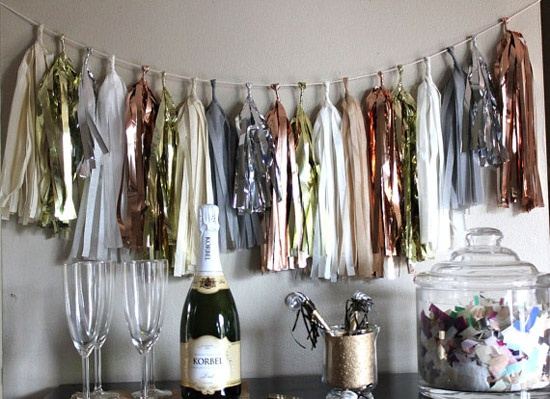 New Year's: New Years Party, Color Schemes, New Years Parties, Parties Ideas, New Years Eve, Pom Pom, Wedding Details, Tassels Garlands, Pom Flair