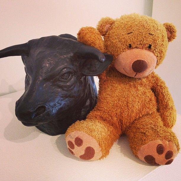 #teddy prefers making #friends to #running with the #bulls. See teddy's blog www.teddybearlife.com #bull #bear #teddies #sienna #italy #paloma #sport #danger #run #race #teddybear #italia
