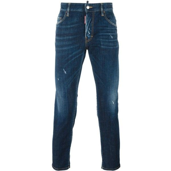 Dsquared2 Skater stonewashed jeans ($490) ❤ liked on Polyvore featuring men's fashion, men's clothing, men's jeans, blue, mens ripped jeans, mens stretch skinny jeans, mens distressed jeans, mens ripped skinny jeans and mens stonewash jeans