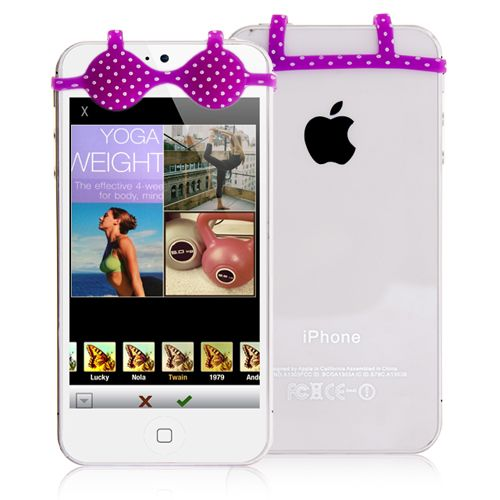 Silicone Phone Brassiere - Purple Girly Bra #silicone #smartphone #bra #girly #cellz.com $2.76
