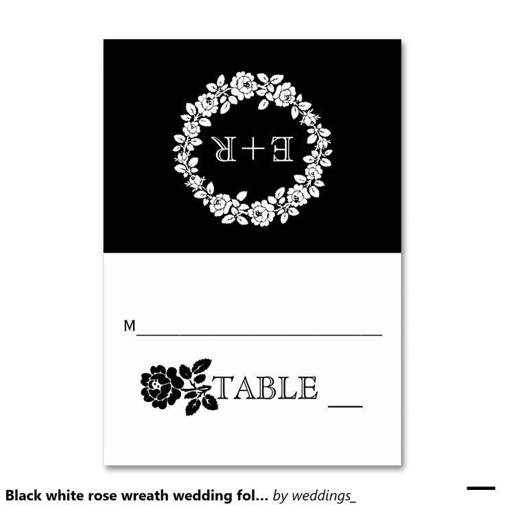 #Blackwhite #rose wreath #wedding folded #escortcard with #initials