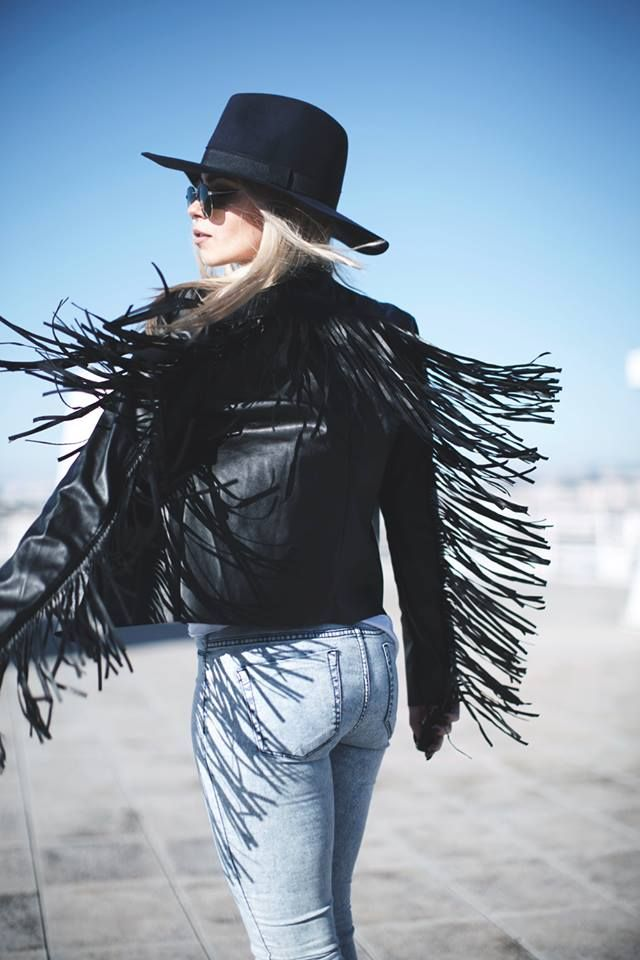 Room 1x1 is festival ready in our Ava Faux Leather Tassel Waterfall Jacket.