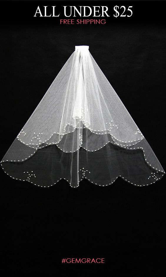 Only $24.78, Veils Elegant Short Ivory Wedding Veil with Beading #BV016 at #GemGrace. View more special Veils now? GemGrace is a solution for those who want to buy delicate gowns with affordable prices, a solution for those who have unique ideas about their gowns. New arrived cheap wedding veils, view more ideas!