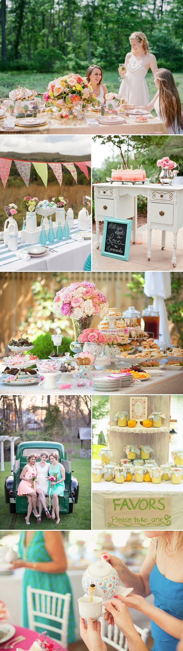 Tea party - I like the teapots as flower vases and the china used as serving pieces on the second full width photo
