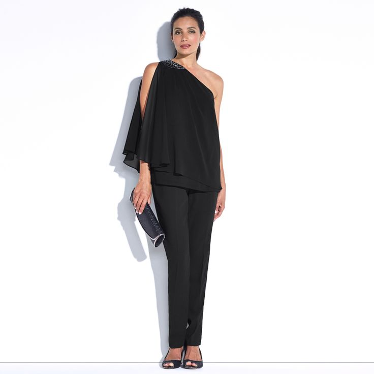 Camello One Shoulder Top - Black This one shoulder top features an intricate beading design at the shoulder panel and a soft chiffon overlay creating feminine drapes. A perfect styling option to be worn with the Evita black pant.