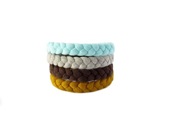 Handmade fabric bracelets made from 100% mustard, brown, green and grey cotton t-shirts.