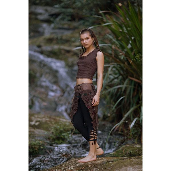 Desert Dweller Tribal Top (Brown) Nomatic Crop Open Back Goa... (75 CAD) ❤ liked on Polyvore featuring tops, black, halter tops, women's clothing, lace up top, open back crop top, lace up crop top and bohemian crop top
