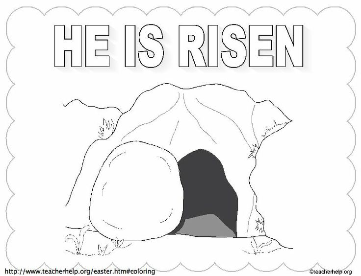He is Risen empty tomb wtitle coloring sheet Le