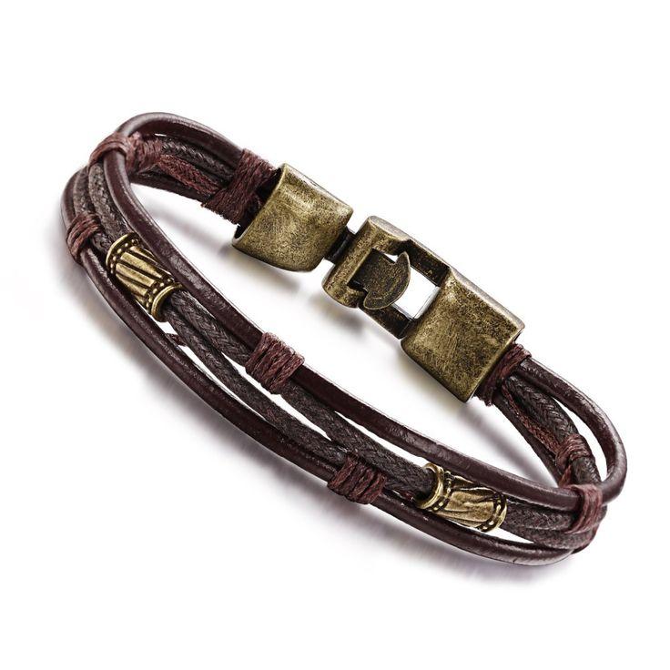 Vintage fashion personality male belt bracelet bronze alloy clasp bracelet  Fashion retro multilayer leather bracelet men