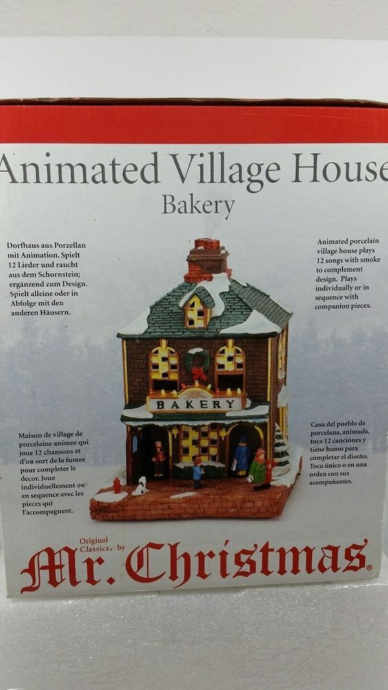 Mr. Christmas MUSIC BOX animated village house Bakery Musical 12 songs Smokes #MrChristmas