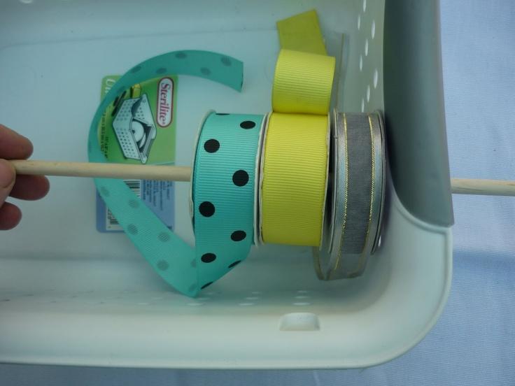 ribbon organization: Crafts Ideas, Baskets Storage, Organizations Ideas, Crafts Rooms, Ribbons Storage, Ribbons Baskets, Crafty Organizations, Crafts Lists, Craftroom Ideas