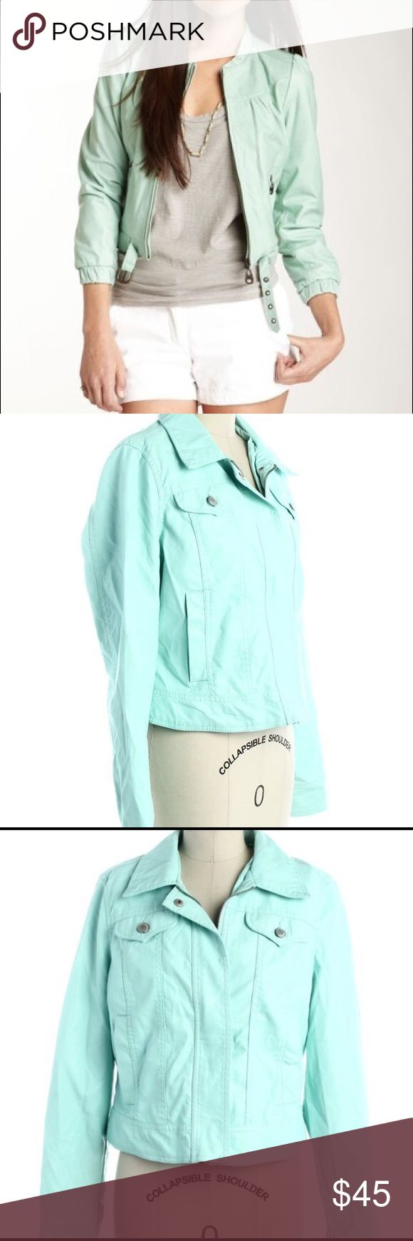 Jou Jou mint green leather jacket NWT, gorgeous color & high quality material. Large but can easily fit a medium or even a small. FAUX leather Jou Jou Jackets & Coats