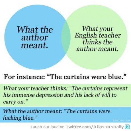 This explains my entire high school English frustrations! Haha!: Thoughts, High Schools English, Curtains, Ap English, Sotrue, English Teacher, English Class, So True, True Stories