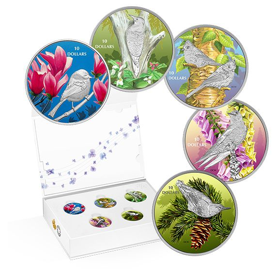 1/2 oz. Pure Silver Coloured 5-Coin Subscription - Birds Among Nature's Colours (2017)