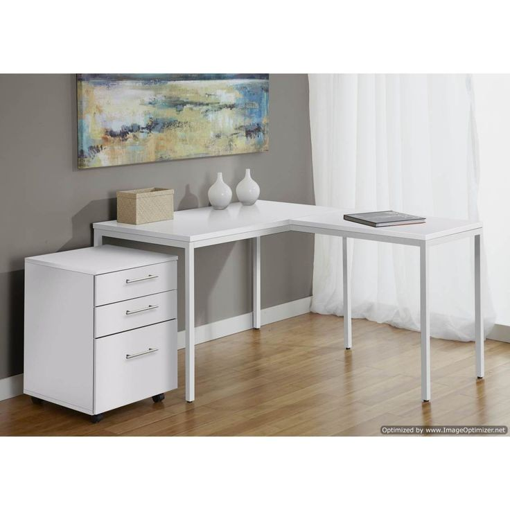 Jesper Office Parsons L Shaped Desk with Mobile Pedestal in
