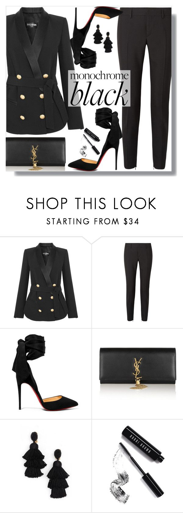 """Mission Monochrome: All-Black Outfit"" by loewenangel ❤ liked on Polyvore featuring Balmain, Yves Saint Laurent, Christian Louboutin, Oscar de la Renta and Bobbi Brown Cosmetics"