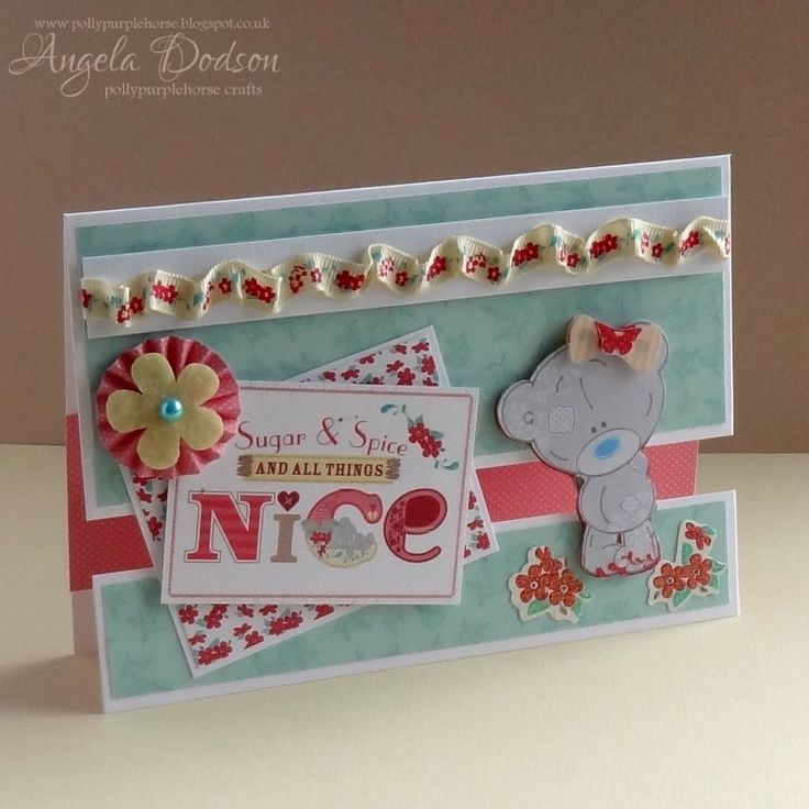 Tiny Tatty Teddy 'and all things nice' baby girl Gap Card by Angela