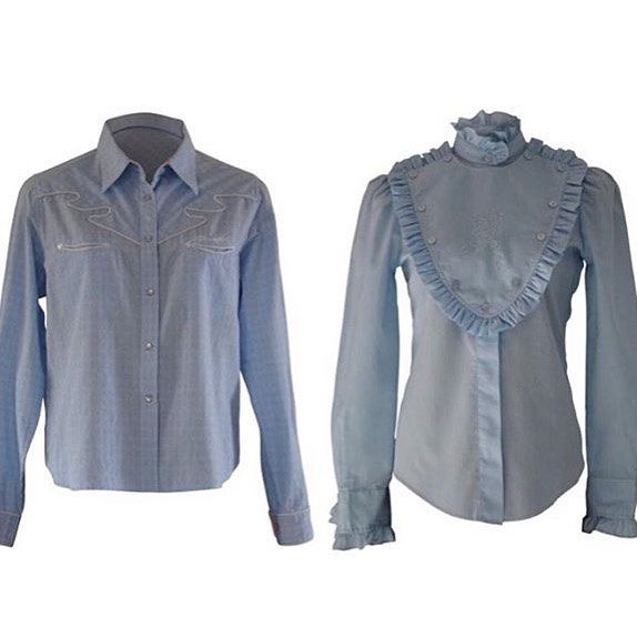 Vintage Styles: Pale blue button western shirts are great for that cross over from winter to spring. How would you style these western blouses?  #springstyles #vintagebuttons #vintagewesternshirt #desertlilyvintage