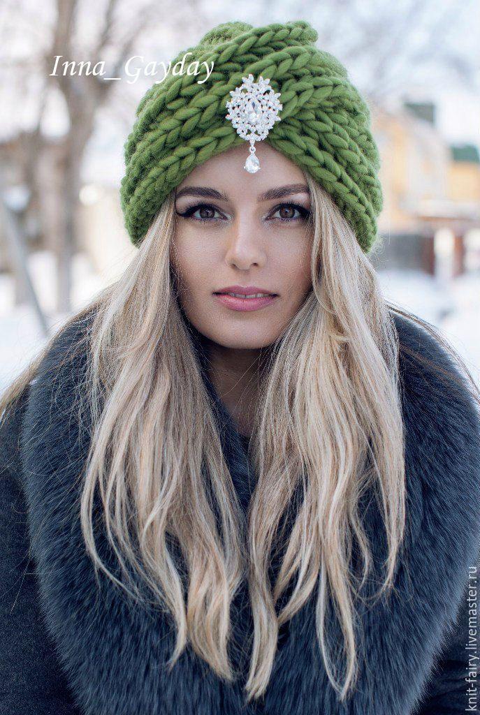 Купить Чалма объемная 100% шерсть - комбинированный, однотонный, тренд, модно, аксессуары, шапка вязаная