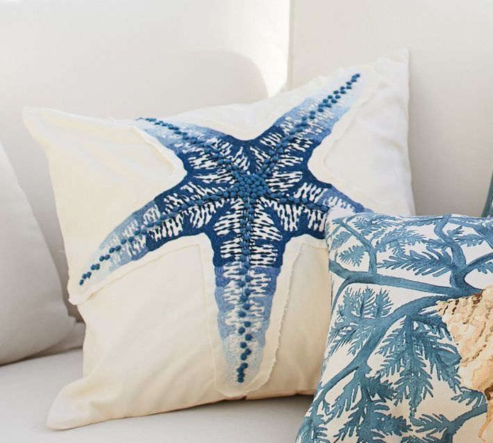 natasha pinned a bunch of great stuff from pottery barn blue starfish embroidered pillow nautical pillowsblue