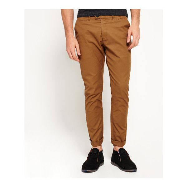 Superdry City Slim Chino Trousers (1,035 MXN) ❤ liked on Polyvore featuring men's fashion, men's clothing, men's pants, men's casual pants, brown, mens slim pants, mens chinos pants, mens brown pants, mens chino pants and mens slim fit pants