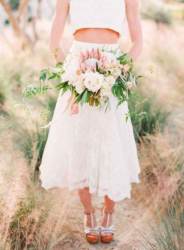 Tea Length Two Piece Wedding Dress with a Blush Bouquet and Platform Heels | Jodi Miller Photography | http://heyweddinglady.com/socal-chic-modern-ranch-wedding/