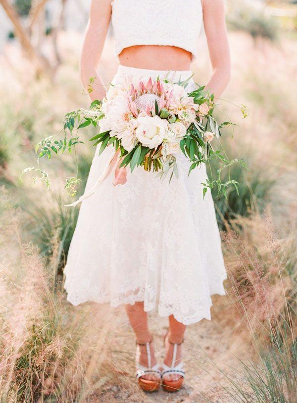 Tea Length Two Piece Wedding Dress with a Blush Bouquet and Platform Heels   Jodi Miller Photography   http://heyweddinglady.com/socal-chic-modern-ranch-wedding/