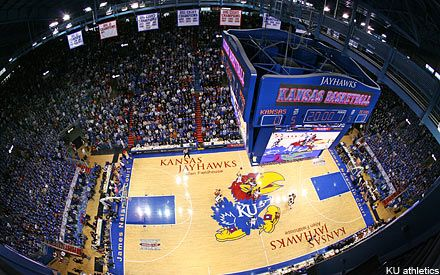 """Pay Heed, All Who Enter: Beware of the Phog""--  'Phog' Allen Fieldhouse.  Home of the Kansas Jayhawks basketball!"