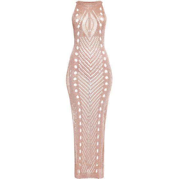 Donatella Gunmetal Metallic Pointelle Knit Maxi Dress ❤ liked on Polyvore featuring dresses, metallic maxi dress, pink metallic dress, maxi dresses, gunmetal dress and metallic dress