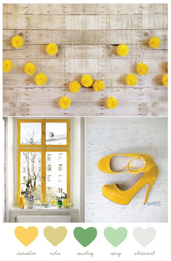 Color Palette: Dandelion and Seedling - This sunny palette is so lively and fun. It feels impossible that nothing wouldn't happen!