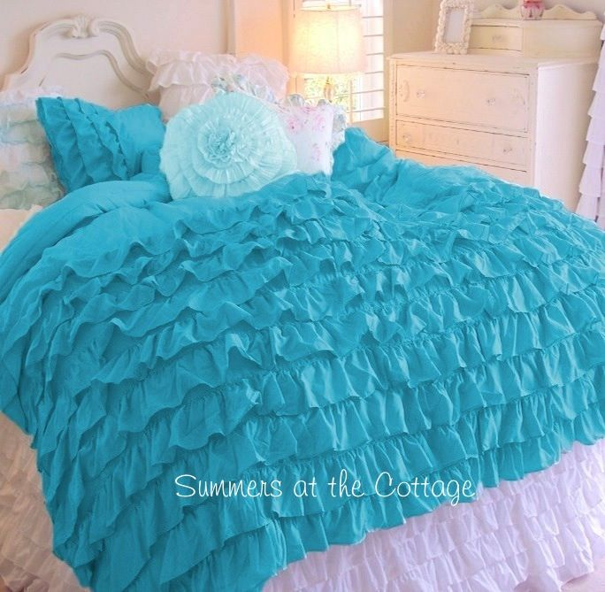 Turquoise Shabby Chic Bedrooms: Shades Of Aqua Turquoise Ruffles Shabby Cottage Chic Twin