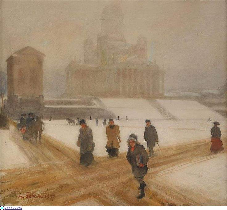 Louis Sparre (Swedish 1863–1963) [ Finnish National Romanticism, Jugend] Winter Day in Helsingfors, 1907.